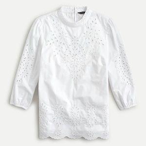 J.Crew Mockneck Cotton Poplin Top Embroidered